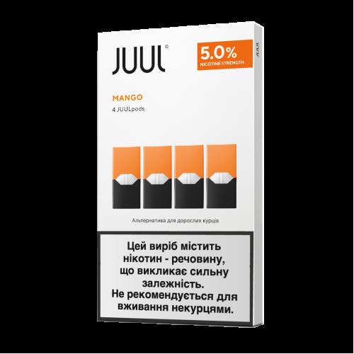 Картридж Juul Mango испаритель одноразовый для электронной сигареты 5% 50 мг 0,7 мл 4 шт (Манго)