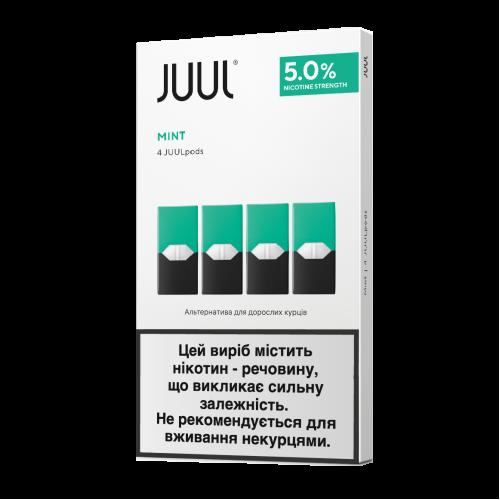 Картридж Juul Mint испаритель одноразовый для электронной сигареты 5% 50 мг 0,7 мл 4 шт (Мята)