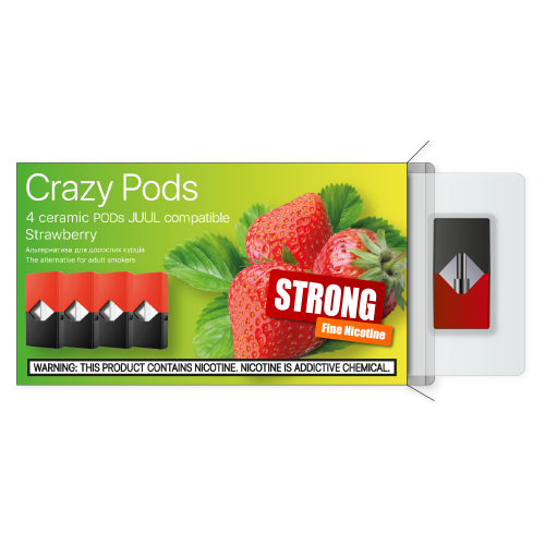 Картридж CRAZY PODS Strawberry STRONG сменный испаритель для электронной сигареты Juul 5% 50 мг (Клубника)